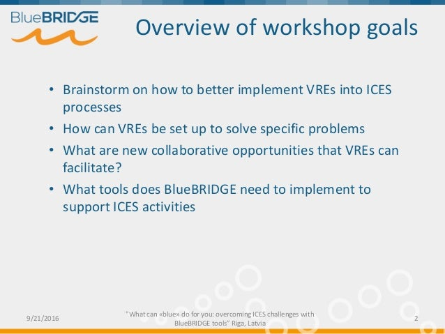 What can «blue» do for you: overcoming ICES challenges with BlueBRIDGE tools Slide 2