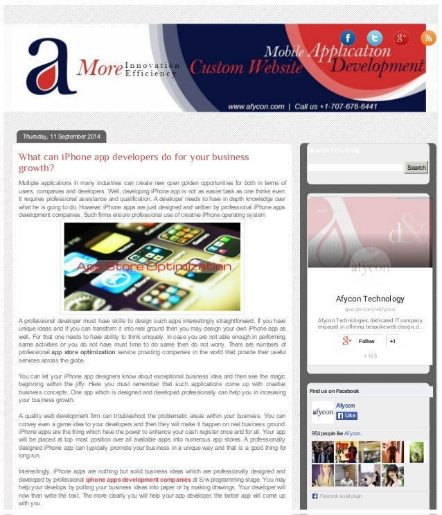 Thursday, 11 September 2014  What can iPhone app developers do for your business  growth?  Multiple applications in many i...