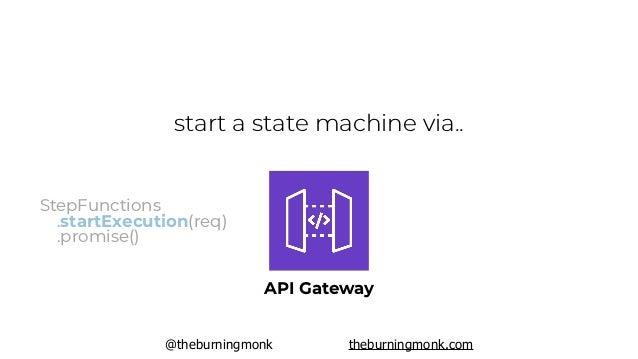 @theburningmonk theburningmonk.com start a state machine via.. EventBridge including cron StepFunctions .startExecution(re...