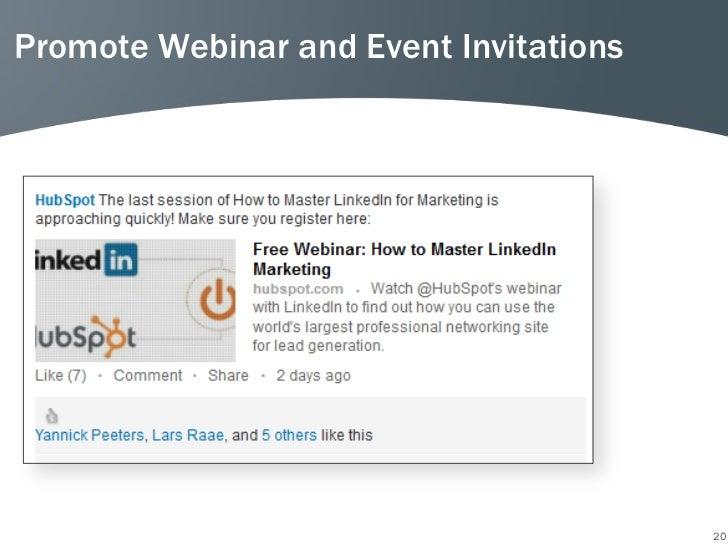 Promote Webinar and Event Invitations                                        20
