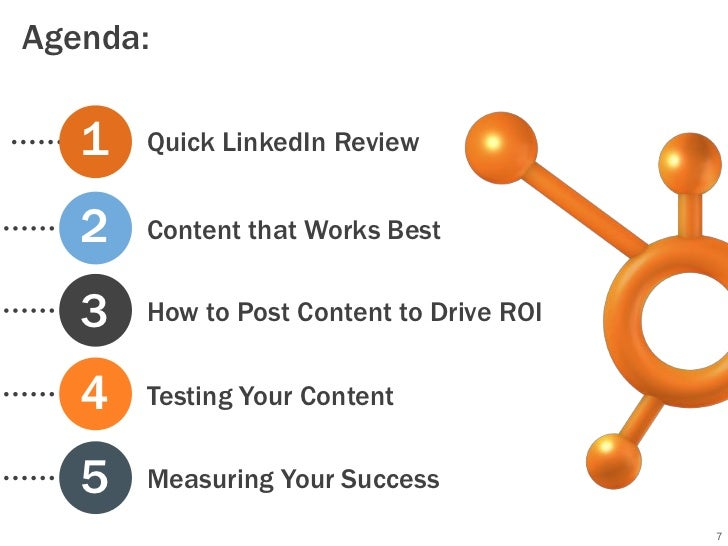Agenda:   1   Quick LinkedIn Review   2   Content that Works Best   3   How to Post Content to Drive ROI   4   Testing You...