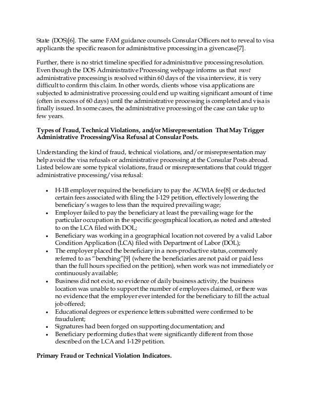 WHAT COULD TRIGGER H-1B VISA REFUSAL OR ADMINISTRATIVE