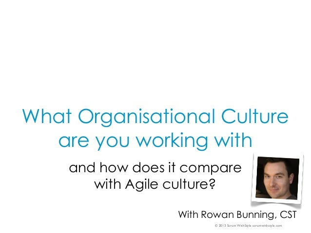 © 2013 Scrum WithStyle scrumwithstyle.com What Organisational Culture are you working with and how does it compare with Ag...