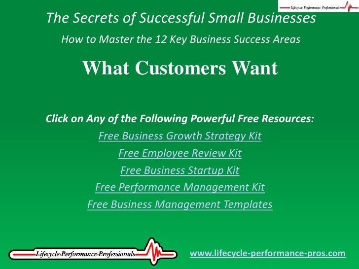 The Secrets of Successful Small Businesses<br />How to Master the 12 Key Business Success Areas<br />What Customers Want<b...