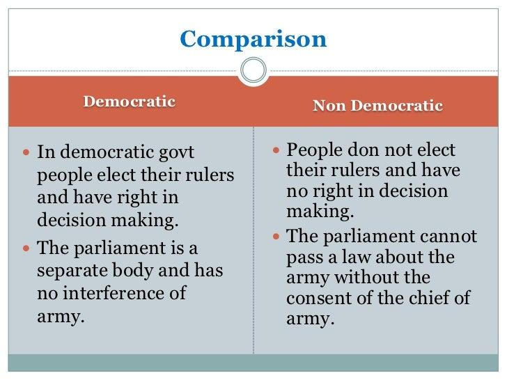 Comaparison        Democartic                   Non Democratic Any citizen can aspire to      The citizens of the  conte...