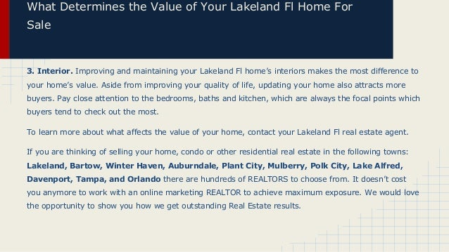 What Determines the Value of Your Lakeland Fl Home For Sale  3. Interior. Improving and maintaining your Lakeland Fl home'...