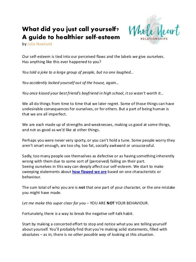 What did you just call yourself a guide to healthier self esteem what did you just call yourself a guide to healthier self esteem by julia sciox Gallery