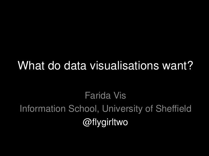 What do data visualisations want?               Farida VisInformation School, University of Sheffield               @flygi...