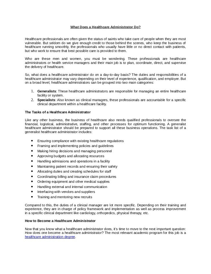 healthcare administrator job description Kenicandlecomfortzonecom