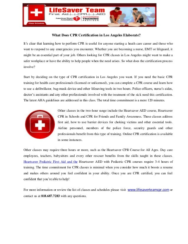 What Does Cpr Certification In Los Angeles Elaborate