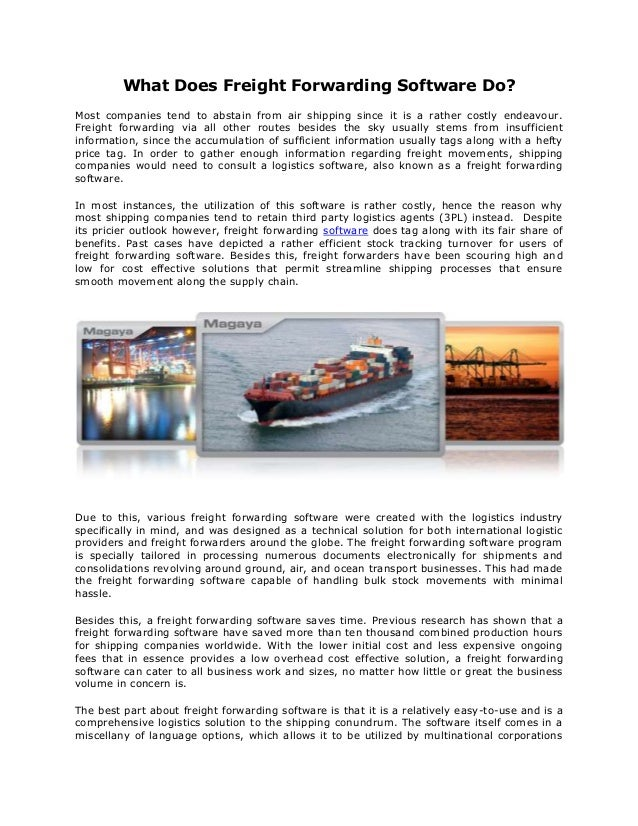 What does freight forwarding software do