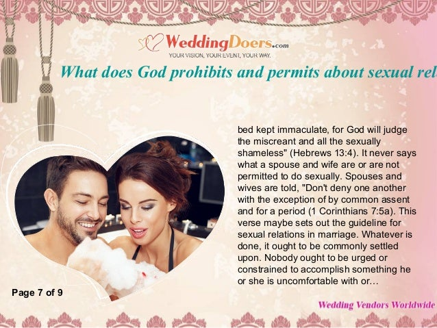8  bed kept. What does god prohibits and permits about sexual relationship between
