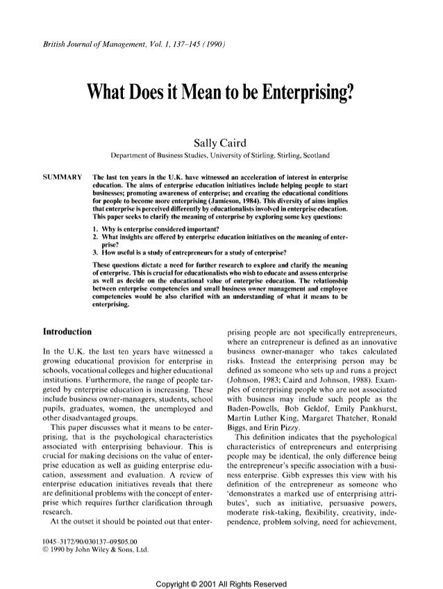What does it mean to be enterprising