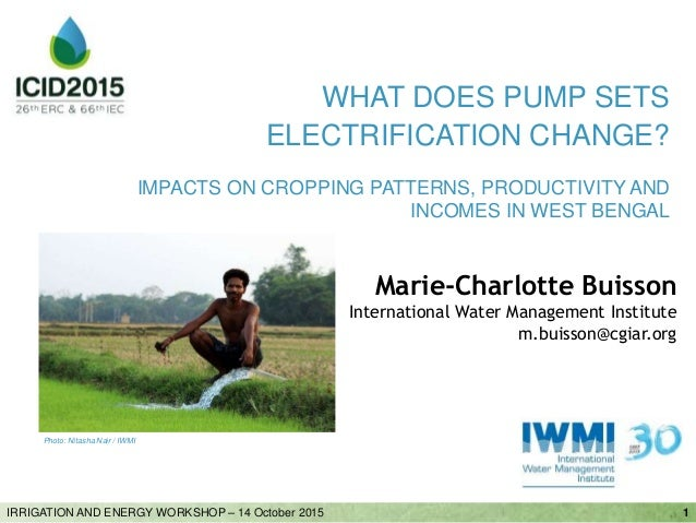 Marie-Charlotte Buisson International Water Management Institute m.buisson@cgiar.org 1IRRIGATION AND ENERGY WORKSHOP – 14 ...