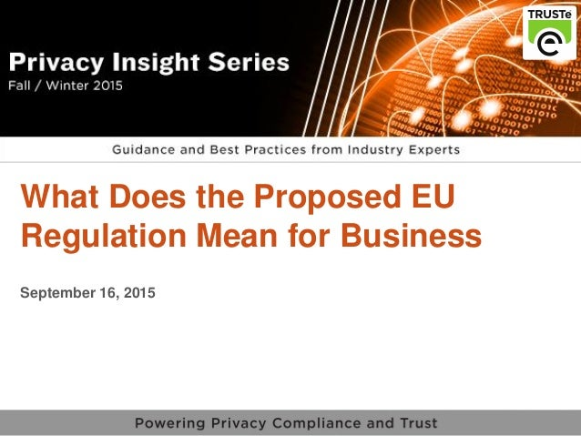 1 vPrivacy Insight Series v What Does the Proposed EU Regulation Mean for Business September 16, 2015