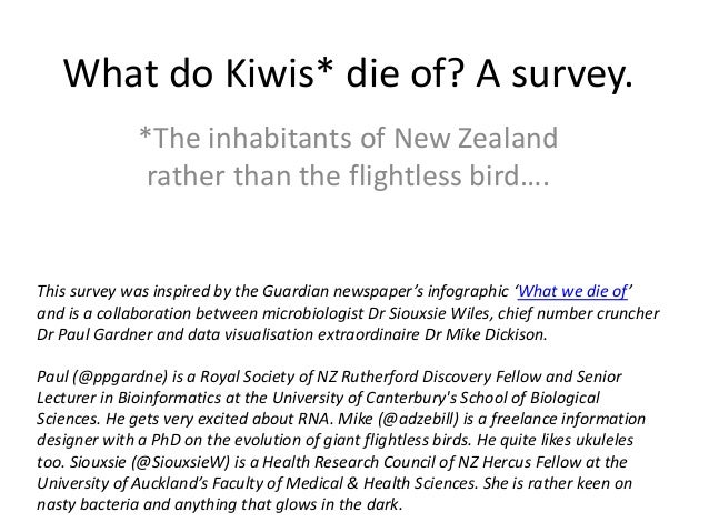 What do Kiwis* die of? A survey.              *The inhabitants of New Zealand               rather than the flightless bir...