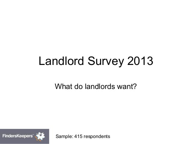 Landlord Survey 2013 What do landlords want? Sample: 415 respondents