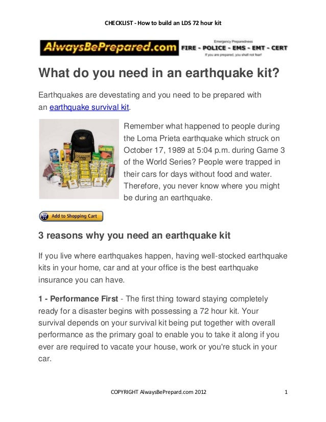CHECKLIST - How to build an LDS 72 hour kitWhat do you need in an earthquake kit?Earthquakes are devestating and you need ...