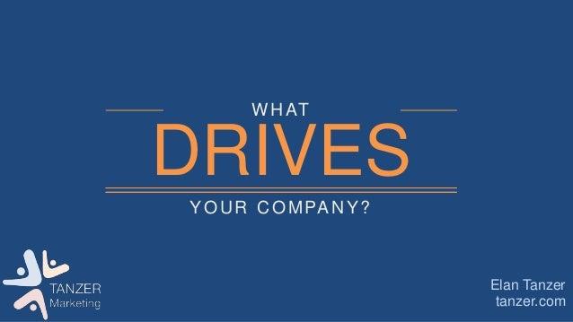 YOUR COMPANY? WHAT DRIVES tanzer.com Elan Tanzer