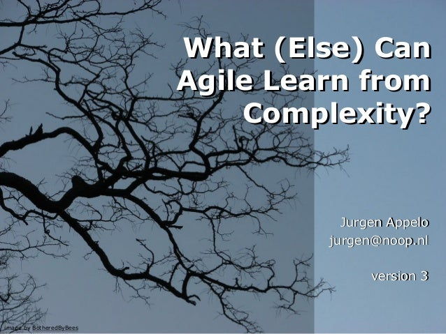 What (Else) Can Agile Learn from Complexity? What (Else) Can Agile Learn from Complexity? Jurgen Appelo jurgen@noop.nl ver...