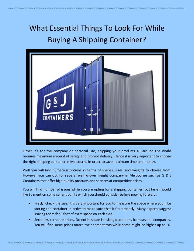What essential things to look for while buying a shipping