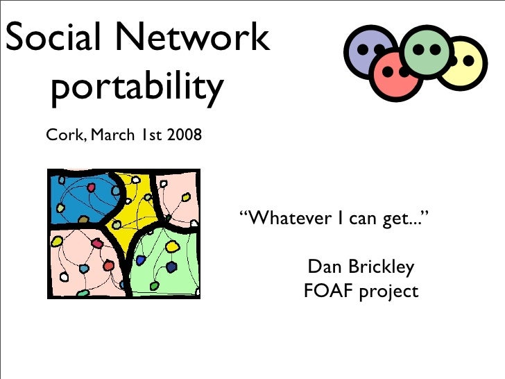"Social Network   portability   Cork, March 1st 2008                             ""Whatever I can get...""                   ..."