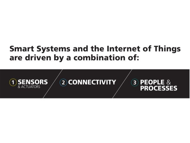 Smart Systems and the Internet of Things are driven by a combination of:   1 SENSORS 3 PEOPLE &  & ACTUATORS