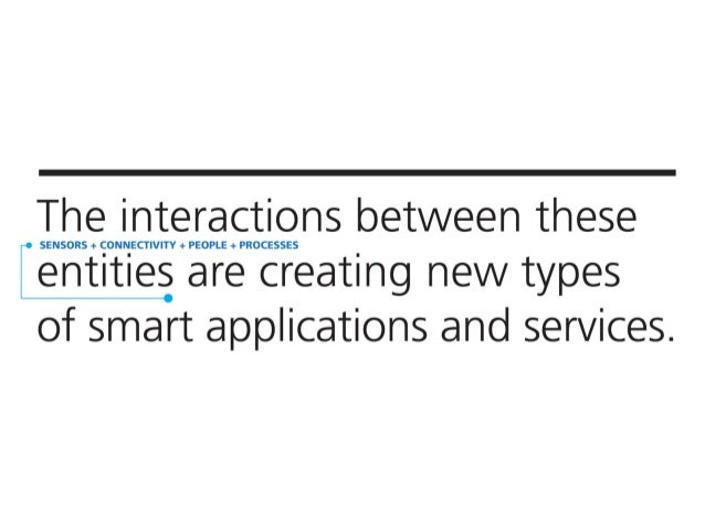 The interactions between these  SENSORS + CONNECTIVITY + PEOPLE + PROCESSES  entities are creating new types of smart appl...
