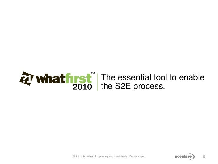 The essential tool to enable                      the S2E process.© 2011 Accelare. Proprietary and confidential. Do not co...
