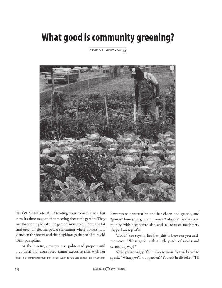What good is community greening?                                                                               DAVID MALAK...