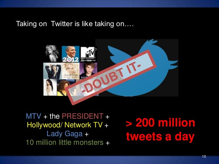 Taking on  Twitter is like taking on….<br />-DOUBT IT- <br />MTV + the PRESIDENT +<br />Hollywood/ Network TV + <br />Lady...
