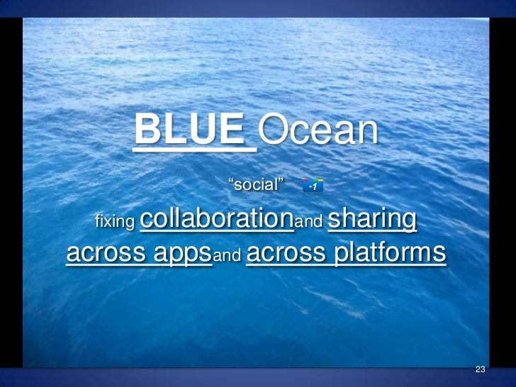 "BLUE Ocean""social""<br />fixing collaborationand sharingacross appsand across platforms<br />23<br />"