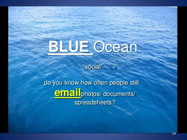 """BLUE Ocean""""social""""<br />24<br />do you know how often people still emailphotos/ documents/ spreadsheets?<br />"""