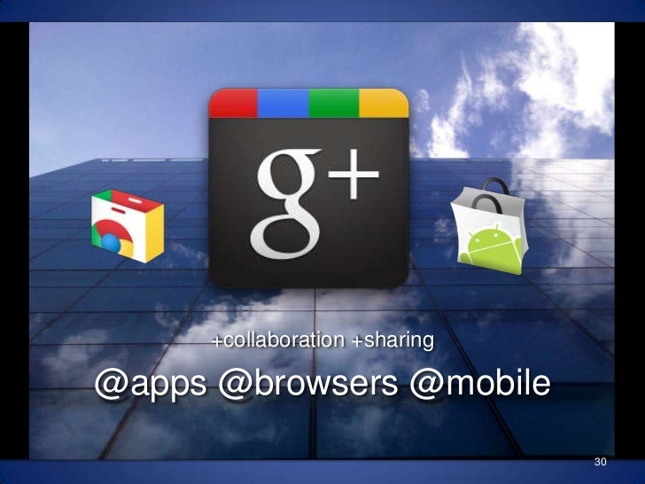 +collaboration +sharing<br />@apps @browsers @mobile<br />30<br />