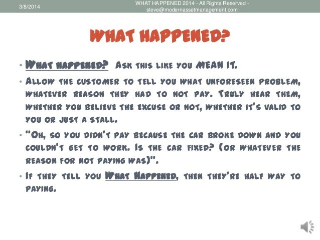 What happened collection call script