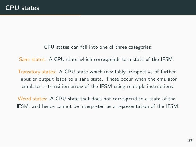 CPU states CPU states can fall into one of three categories: Sane states: A CPU state which corresponds to a state of the ...