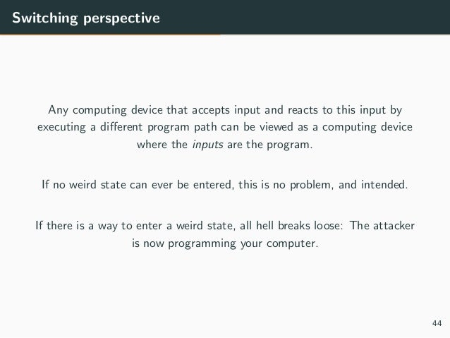 Switching perspective Any computing device that accepts input and reacts to this input by executing a different program pat...