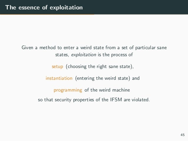 The essence of exploitation Given a method to enter a weird state from a set of particular sane states, exploitation is th...