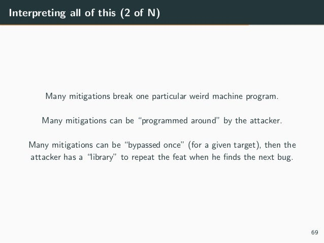 """Interpreting all of this (2 of N) Many mitigations break one particular weird machine program. Many mitigations can be """"pr..."""