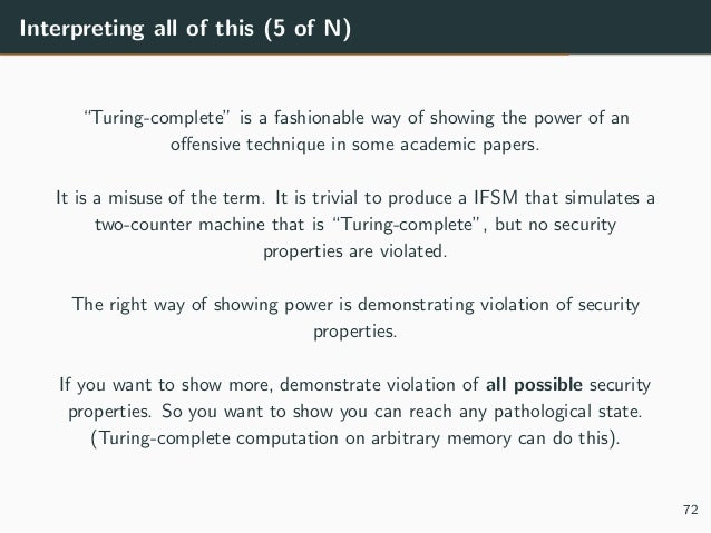 """Interpreting all of this (5 of N) """"Turing-complete"""" is a fashionable way of showing the power of an offensive technique in ..."""