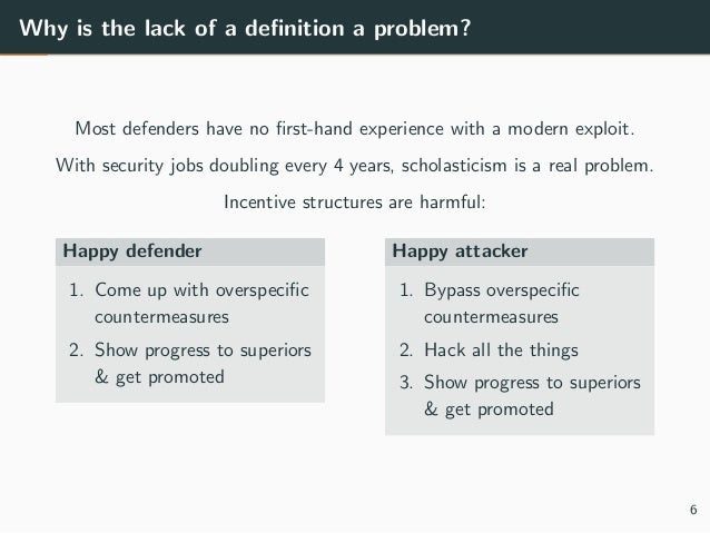 Why is the lack of a definition a problem? Most defenders have no first-hand experience with a modern exploit. With security...