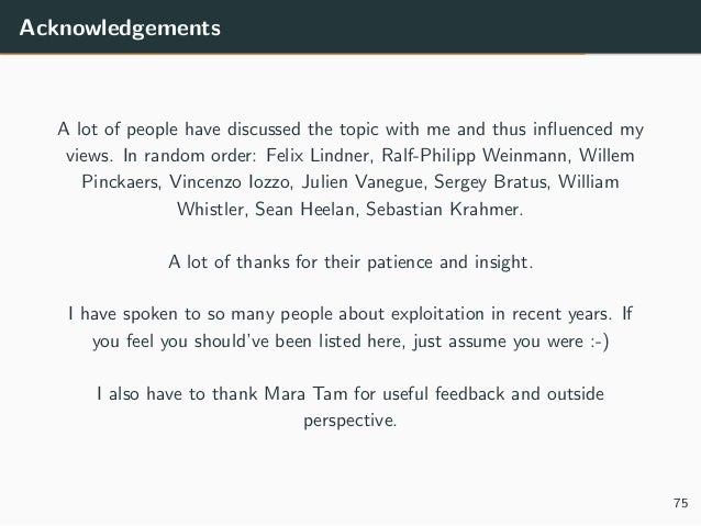 Acknowledgements A lot of people have discussed the topic with me and thus influenced my views. In random order: Felix Lind...