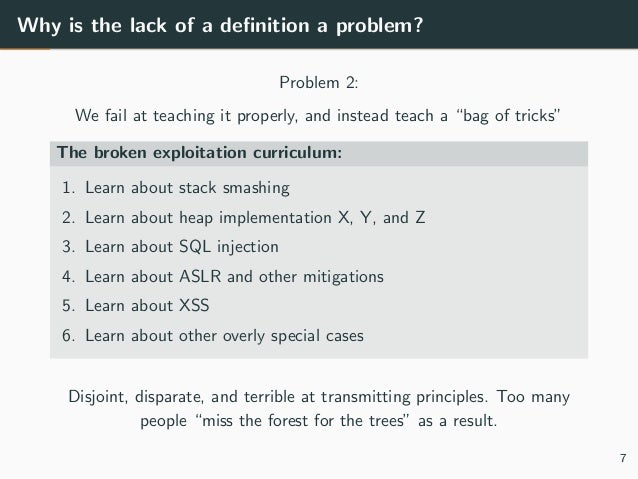 """Why is the lack of a definition a problem? Problem 2: We fail at teaching it properly, and instead teach a """"bag of tricks"""" ..."""