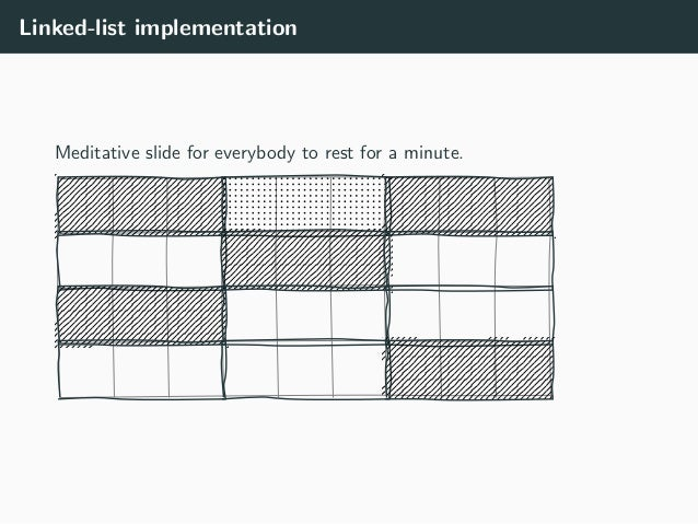 Linked-list implementation Meditative slide for everybody to rest for a minute.
