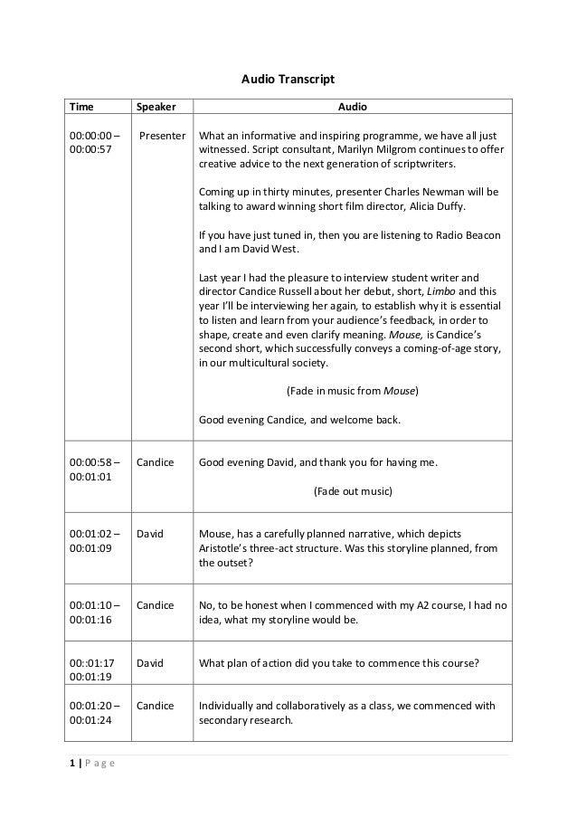 1 | P a g e Audio Transcript Time Speaker Audio 00:00:00 – 00:00:57 Presenter What an informative and inspiring programme,...