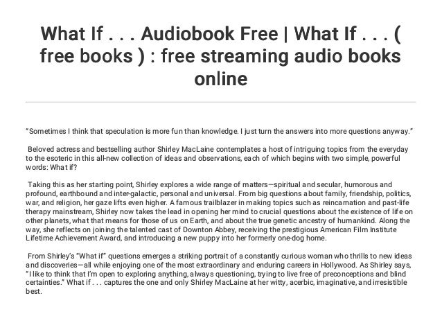 What If       Audiobook Free | What If       ( free books