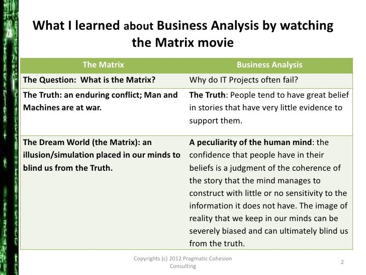 an analysis of the film the matrix Movements of mind:the matrix, metaphors, and re-imagining educationteachers  refrain in the wachowski brothers' film, the matrix  analysis of and through .