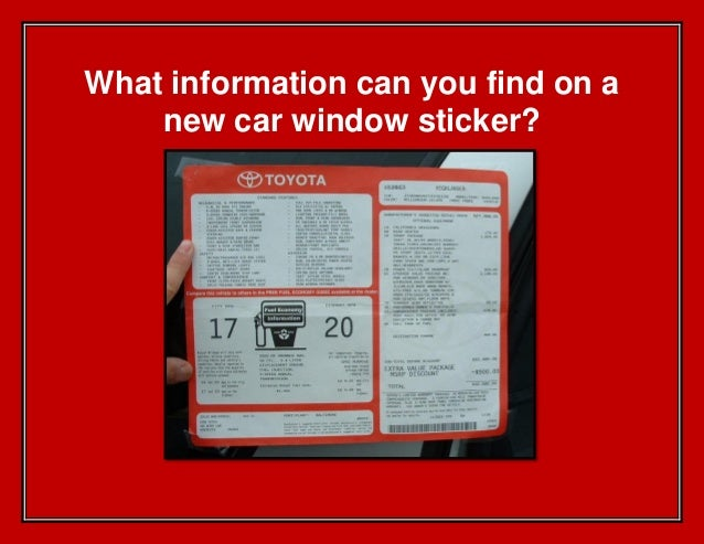 What information can you find on a new car window sticker?