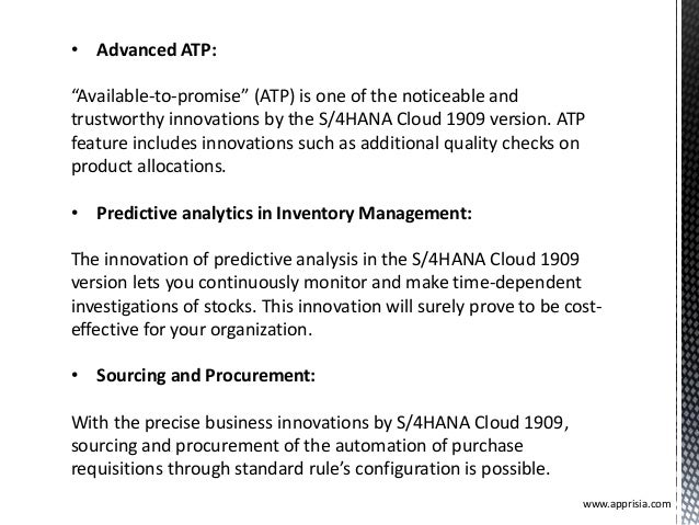 """www.apprisia.com • Advanced ATP: """"Available-to-promise"""" (ATP) is one of the noticeable and trustworthy innovations by the ..."""
