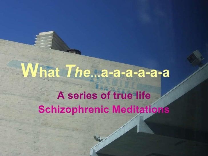 W hat  T he … a-a-a-a-a-a A series of true life Schizophrenic Meditations